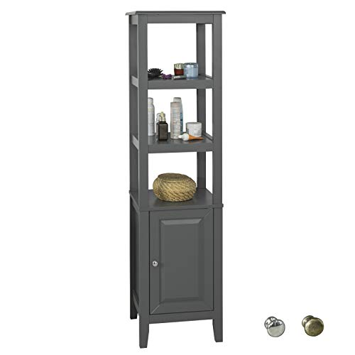 SoBuy FRG205-DG Badezimmer-Hochschrank Badregal Badschrank Badmöbel mit 3 offenen Fächern und Tür Dunkelgaru BHT ca: 40x150x33cm