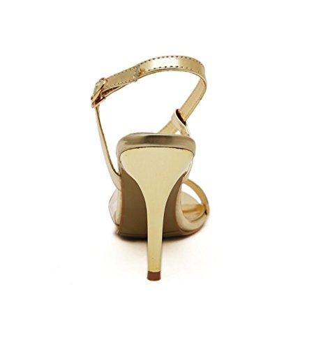Ms. scarpe con tacchi alti pattini della festa nuziale i talloni sottili con tacco alto scarpe rotonde delle donne dei sandali della testa Gold