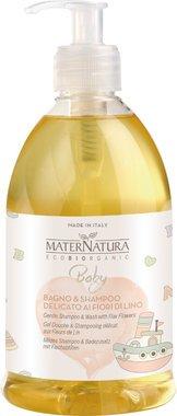 MATERNATURA BABY - BIO-Mildes Shampoo & Bad mit Flachsblüten 500 ml - Milde Pflege für die zarte Babyhaut - Vegan, Hergestellt in Italien