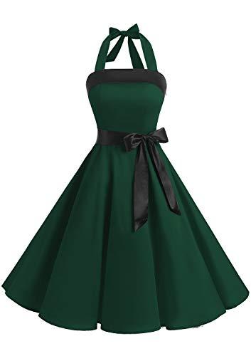Timormode 10212 Damen 1950er Vintage Abendkleid Elegant Neckholder Retro Cocktailkleid Faltenrock Kleid Partykleid Cocktailkleid Tiefgrün S Neckholder-kleid