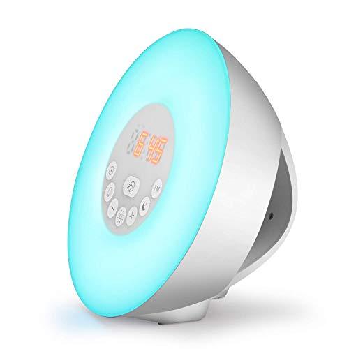 (LED Lichtwecker WADEO Wake Up Licht Lichtwecker Sunrise Sunset mit FM Radio Digitaluhr 6 Natürlichen Sounds Snooze Funktion 7 Farbige Nachttischlampe für Erwachsene und Kinder)