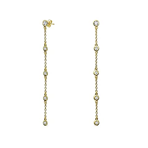 Gold Plated CZ by the Inch Earrings 925 Sterling Silver