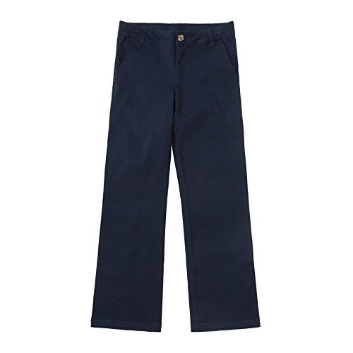 Marine-blau-uniform Hose (Bienzoe Mädchen Schuluniformen Baumwolle Dehnbar Flache Vorderseite Einstellbar Taille Hose Marine Größe 12)