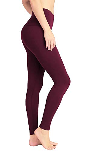 DeepTwist Donna Pantaloni da Yoga Alto Vita - Yoga Fitness Spandex Palestra Sport Legging, UK-DT4005-Wine Red-4