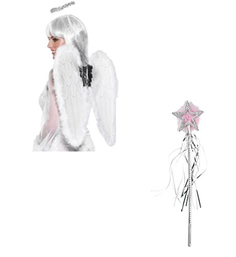 n Engel Amor Flügel & Halo Fancy Kleid Zubehör Engel Set weiß Marabou mit gratis STAR Zauberstab (Halo Flügel)