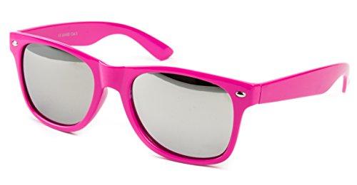 Sonnenbrille Nerdbrille Nerd Retro Look Brille Pilotenbrille Vintage Look - ca. 80 verschiedene Modelle Pink Verspiegelt