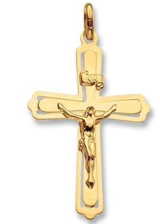 Crucifix. in oro 9 K, colore: oro, motivo: Santa Comunione Crucifix. Cross. Present.9ct Cross. in oro con pendente a forma di crocifisso, in oro