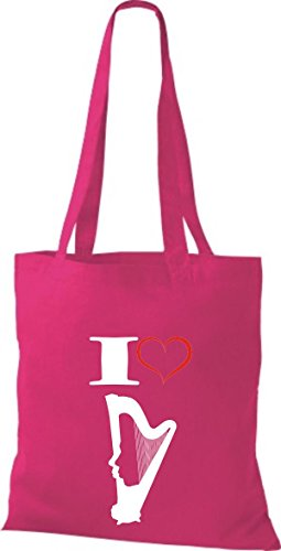 Shirtstown Pochette en tissu Musique I Love Stand Harpe Harp Rose - Fuchsia