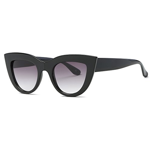 kimorn Sonnenbrille für Damen Metall Scharniere Cat Eye Kunststoffrahmen Sonne Gläser K0568 (Schwarz&Rauch)