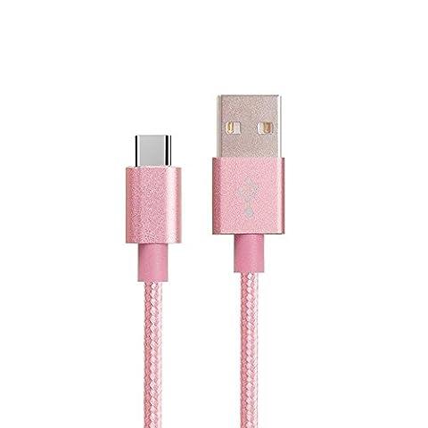 Câble USB Type C 3m Câble de charge Samsung Galaxy S8Samsung galaxy S8Plus Nylon tressé Haute qualité Charge rapide 2A Synchronisation de données Couleur Rose