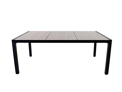 PEGANE Table DE 10 Places en Aluminium Noir/Plateau en céramique - Dim : 194x 120 cm