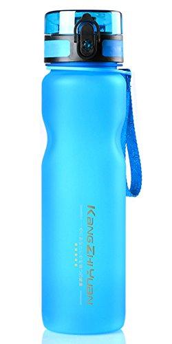 Sport Wasser Flasche BPA-frei 1Liter–auslaufsicher Sport Wasser Flaschen mit Flip Top Deckel und Filter Drink Fläschchen gefrostetem Kunststoff Tritan wiederverwendbarer Wasser Umweltfreundlich Getränke Flasche Einhandbedienung mit Nylonschnur Griff einfach zu tragen, 1000ml Große Wasser Stauraum für Camping, Wandern, Radfahren, Laufen, Fitnessraum, Yoga xiyunte vc091, blau (Wasser Flasche Mit Filter, 1 Liter)