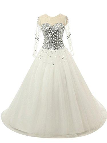 Brautkleid Damen Hochzeitskleider Lang Brautmode Prinzessin Tüll Langarm A Linie Weiß EUR42