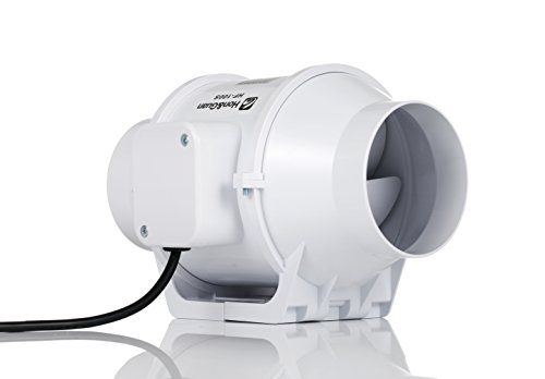 Hon&Guan 100mm Abluftventilator Hochleistungs Inline Rohrventilator Mischstrom Lüftungsanlage Abluft für Zimmer Badezimmer Küche