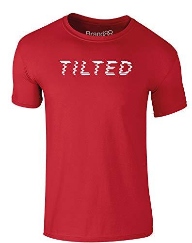 Tilted, Erwachsene Gedrucktes T-Shirt - Rote/Weiß L = 104-109 cm -