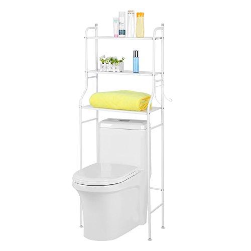 EBTOOLS Mueble estantería Parte Superior baño WC 3estantes Armario de Almacenamiento para Cuarto de baño de Hierro Blanco/Negro