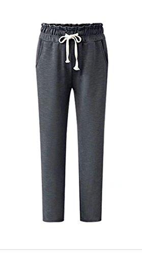 Damen Sweatpants Sweathose mit Bündchen Herbst Winter Warm Fleece gefüttert Sporthose Elastische Tunnelzug Freizeithose Haremhose Pluderhose Jogginghose (Pants Elastische Knit Jersey Taille)