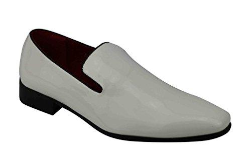 Herren Lackleder glänzend Leder Wildleder Smart Casual Ferse Schlupfschuhe fahren Schuhe UK 6789101112 weiße Lacklederoptik
