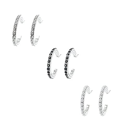 Claire's Girl's Pearl & Faux Crystal Studded Silver-tone Hoop Earrings in Silver