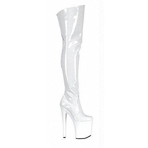 donne stivali lunghi in pelle super tacchi alti sopra il ginocchio Nightclub Pole Dance Model performance scarpe, WHITE-39 WHITE-42