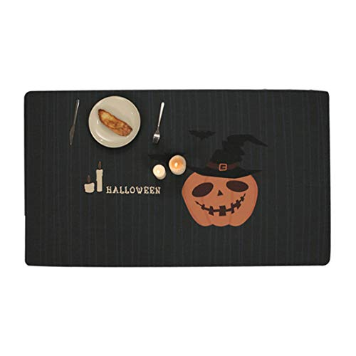 Halloween Tischdecke Kürbis Rechteckig Hauptdekoration Multifunktional Innen und außen Baumwolle und Leinen Mischgewebe Nordischen Stil Creative Retro Einfach Schwarz