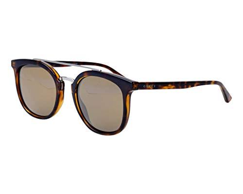 Gucci Sonnenbrillen (GG-0403-S 002) dunkel havana - silber - grau-braun mit verspiegelt effekt