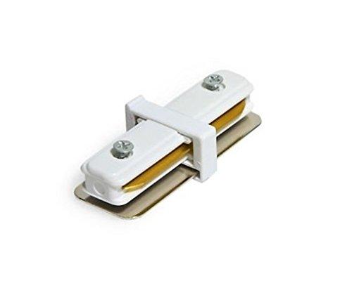 LineteckLED® E09.007.02B Innesto giunzione a forma di I a 2 ingressi per binario elettrificato monofase rinforzato colore BIANCO