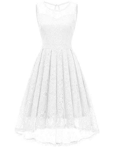 Gardenwed Damen Kleid Retro Ärmellos Kurz Brautjungfern Kleid Spitzenkleid Abendkleider CocktailKleid Partykleid White S - White Lace Kleid