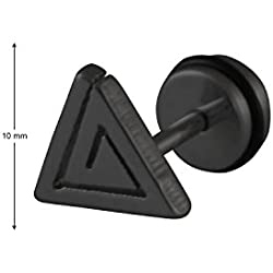 Sarah Triangle Single Stud Earring for Men - Black