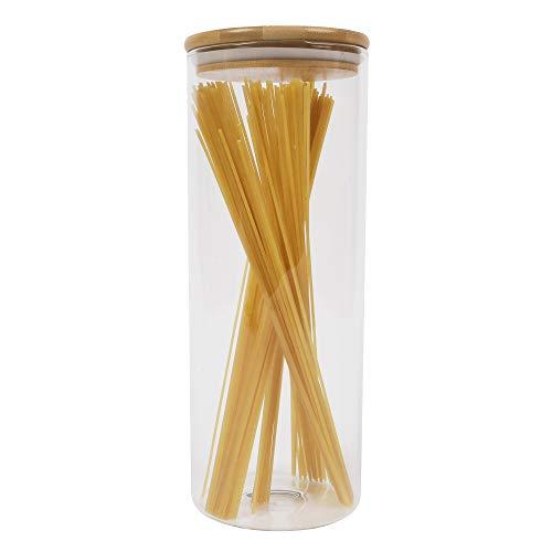 ORNAMI HOME Glas-Gefäß, mit Deckel, umweltfreundlich, gesund, Silikon, mit luftdichter Verschluss, Behälter, Container, für Küche, für Kräuter, für Kaffee, Mehl, Zucker, glas, farblos, Large 1.6L