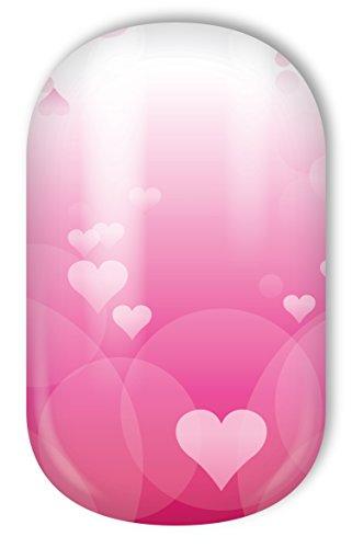 MISS SOPHIE'S Nagelfolie -'Heart Blush', Herzen Pink-Weiß, 20 selbstklebende Nail Wraps