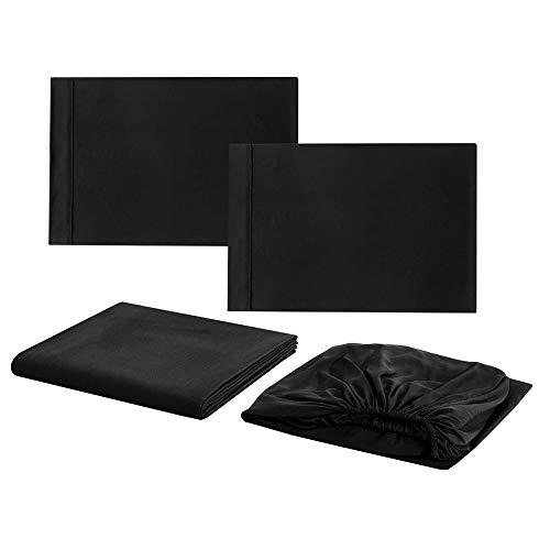 Caredy Bettwäsche-Set, luxuriös, weich, Hotelqualität, Tiefe Taschen, komplettes Spannbetttuch für Doppelbetten Black Queen Size 4pcs