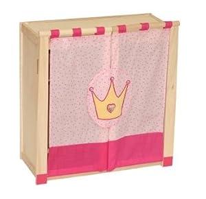 roba 98430 - Armario de Madera para muñecas (Estructura de Madera, con Tela Desmontable y Lavable, 1 Estante y 1 raíl, 56,5 x 53 x 24,5 cm), diseño de Corona