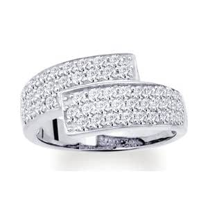 Bague OR 18K Gris rhodié Pavage Double Diamants