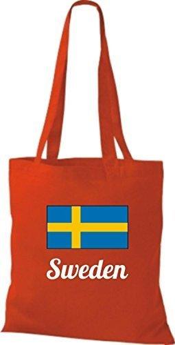 ShirtInStyle Stoffbeutel Baumwolltasche Länderjute Sweden Schweden Farbe Weinrot rot