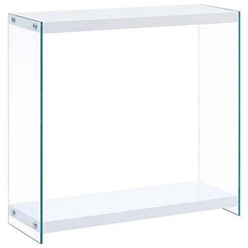 Tidyard- Konsolentisch Sideboard Konsole Holztisch MDF + gehärtetes Glas Telefontisch Sideboard Highboard Weiß