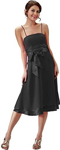 Nachtigall+Lerche Brautjungfernkleid schlicht Cocktailkleid Abendkleid kurz (34, Schwarz)