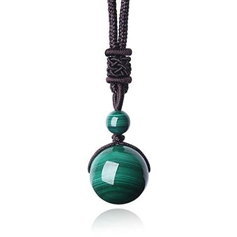 Collier Yoga avec Pendentif Perles Rondes Grandes Reiki Perles Pierres Naturelles Malachite Cadeau Noël Unisexe