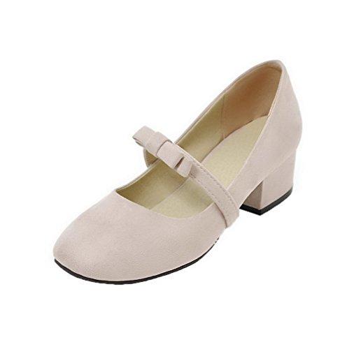 AgooLar Damen Rein Mattglasbirne Niedriger Absatz Schließen Zehe Pumps Schuhe, Cremefarben, 38