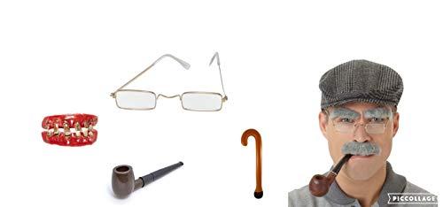 Look Set mit Flacher Kappe, schlechte Zähne, Brille, Schlauch, Schnurrbart, Pencer, OAP Granda, Dad, Grau ()
