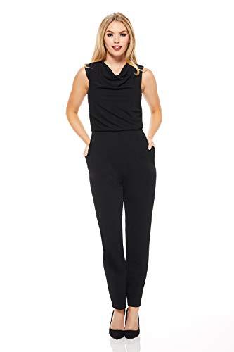 Petite Cowl Neck (Maggy London Damen Petite Crepe Cowl Neck Jumpsuit Legeres Abendkleid, schwarz, 32 Zierlich)