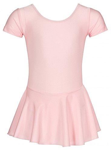 """tanzmuster Kinder Ballettanzug Ballett Trikot """"Marina"""" mit Röckchen. Hübsches Ballettkleid in hellrosa, Größe:116/122"""