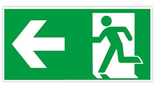 Hochwertiges Notausgangsschild Pfeil Links - Fluchtweg langnachleuchtend + selbstklebend - Original Protecticure Fluchtwegschild nachleuchtend aus PVC - Rettungszeichen/Rettungsschild/nachleuchtend