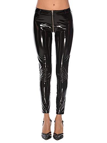 HAINE Leggings in Lackleder für Frauen mit offenem Schritt und Reißverschluss (Schwarz-S)