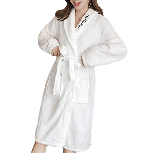Kitrack Bademantel Frottier Flanell Roben Luxury Weiche Robe Cozy Fluffy FüR Frauen,White,XL