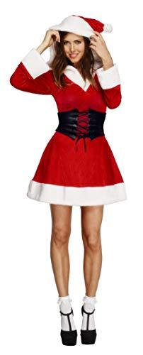 Fever, Damen Weihnachtsfrau Kostüm, Kleid mit Kapuze und Gürtel, Größe: L, - Kapuzen Kleid Für Erwachsene Kostüm