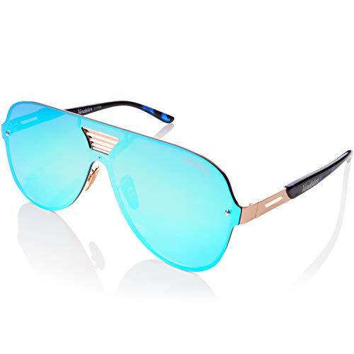 Verdster Gafas De Sol De Aviador TourDePro Para Niñas y Niños  Montura Cómoda con Protección UV  Incluye un estuche funda y un pañuelo Niñospequeño AzulOro