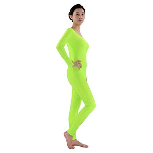 Hellery Zentai Ganzkörperanzug Kostüm Erwachsene Langarm Ganzanzug One Piece Fitness Ballett Trikot Ballettanzug Tanz-Body - Neongrün, 2XL