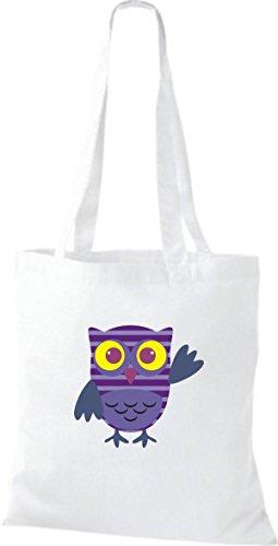 ShirtInStyle Jute Stoffbeutel Bunte Eule niedliche Tragetasche mit Punkte Owl Retro diverse Farbe, weiss