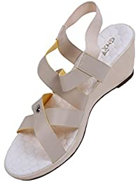 GXN Strap Party Wear Wedge Sandal For Women - B07459WTFK